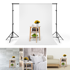 CRAPHY Soportes de Fondo 2 mx 3 m con 1,8 mx 2,8 m Telón de Fondo de Tela (Blanco/Negro/Verde) y 2 Abrazaderas, Backdrop Kit para Fotografía Retrato y ...