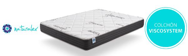 Naturalex Colchón Espuma HR + viscoélastica – VISCOSYSTEM - núcleo tecnológico Blue Latex – 7 Zonas – Reversible - (150 x 190 cm, 16)