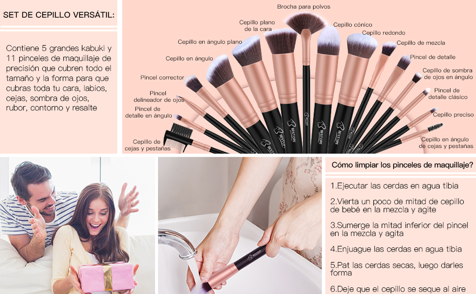 3a47bf1ddec95 Set de brochas de maquillaje profesional BESTOPE 16 piezas Pinceles ...