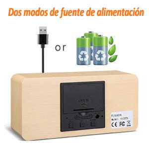 FLOUREON Reloj Despertador Digital con Cable USB -Mesa Reloj Calendario/Tiempo/Temperatura/humeded/Sensor de Sonidocon 3 Alarmas programables, Doble ...