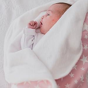 Mimuselina Arrullo para Bebé Recién Nacido   Arrullo de Estrellas, de Algodón 100%, Extrasuave con Interior Aterciopelado, Ligero, Cálido y ...