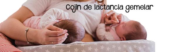 Cojin de lactancia gemelar. Lactancia gemelos mellizos o lactantes mixtos tandem by Mimuselina (ESTRELLAS GRIS)