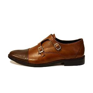 Modello Tito - 44 EU - Cuero Italiano Hecho A Mano Hombre Piel Marrón Monk Zapatos Oxfords - Cuero Cuero Suave - Hebilla OHebt