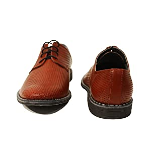 Modello Domenico - 43 EU - Cuero Italiano Hecho A Mano Hombre Piel Rojo Zapatos Vestir Oxfords - Cuero Cuero Repujado - Encaje iOCRPdREMQ