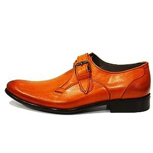 Modello Braga - 45 EU - Cuero Italiano Hecho A Mano Hombre Piel Naranja Monk Zapatos Oxfords - Cuero Cuero Pintado a Mano - Hebilla WbTaqz