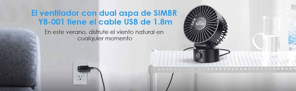 SIMBR Ventilador USB Mini con 2 Velocidades Ventilador Portátil y ...