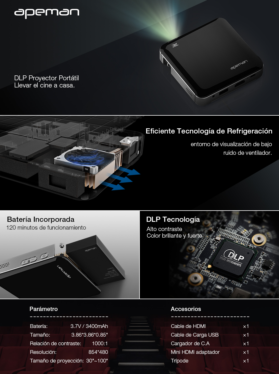 APEMAN Mini Proyector Portátil HD DLP Proyector de Bolsillo ...