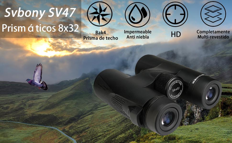 Svbony SV47 Prism/áticos 8x42 Bak4 FMC IPX7 Compactos Impermeable Telescopio Binoculares para Adultos Aventura Deportes al Aire Libre Viajes Camping