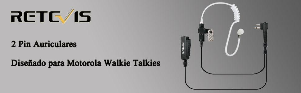 Retevis Walkie Talkie Auricular 2 Pines Tubo Acústico Encubierto ...