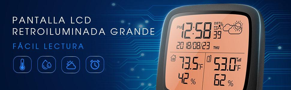X-Sense Estación Meteorológica Inalámbrica Alcance Inalámbrico De 150 m, Pantalla Grande LCD Retroiluminado, Reloj Atómico, Monitor De Temperatura Y ...