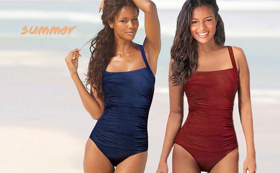 Leslady Banadores Mujer Reductores Mujer Color sólido Traje de ...