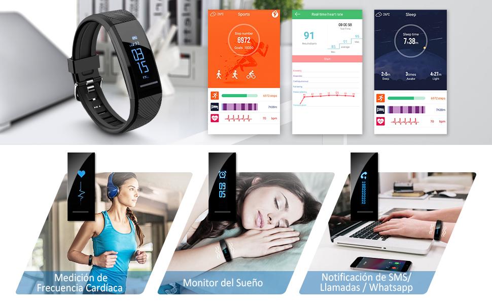 ELEGIANT Pulsera de Actividad Inteligente Reloj Deportivo IP67 para Hombre Mujer con GPS Monitor de Sueño Podómetro Contador Notificación Whatsapps ...