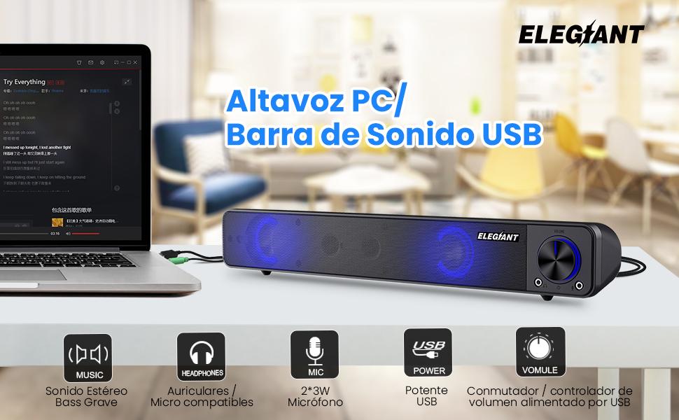 ELEGIANT Altavoz PC, Altavoces USB para Ordenador, Mini Barra de Sonido LED RGB Portátil con Controladores Dual Altavoz de Alto Rendimiento para Ordenador portátil, Móvil, Tableta, Fiesta, Regalo: Amazon.es: Electrónica