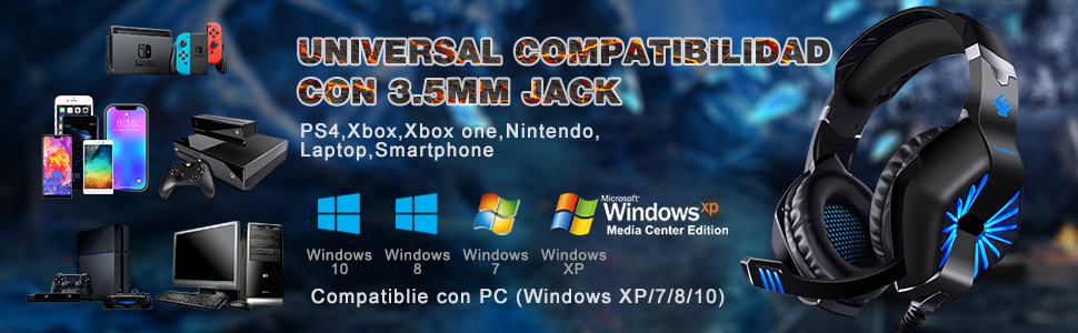 ELEGIANT Auriculares Gaming, Cascos Gaming PS4 con Micrófono Gamer Cancelación de Ruido Sonido Envolvente con Luz Led para PC Xbox One PS3 Xbox 360 ...