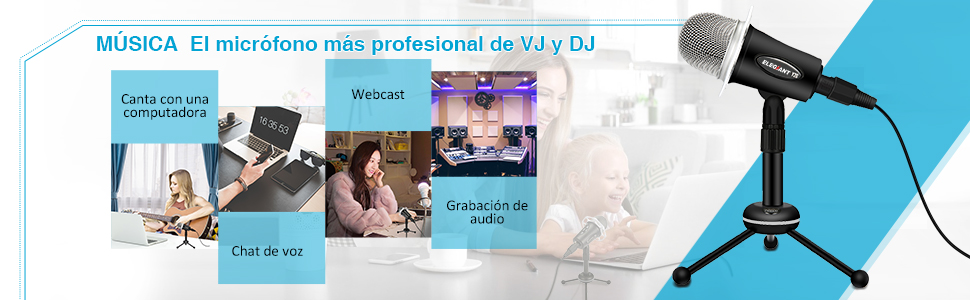 ELEGIANT Micrófono Profesional PC de Condesnsador para VJ DJ ...