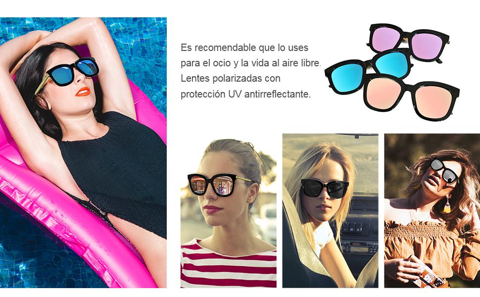SIPHEW Gafas de Sol Mujer Grandes Eliminar Reflejos con