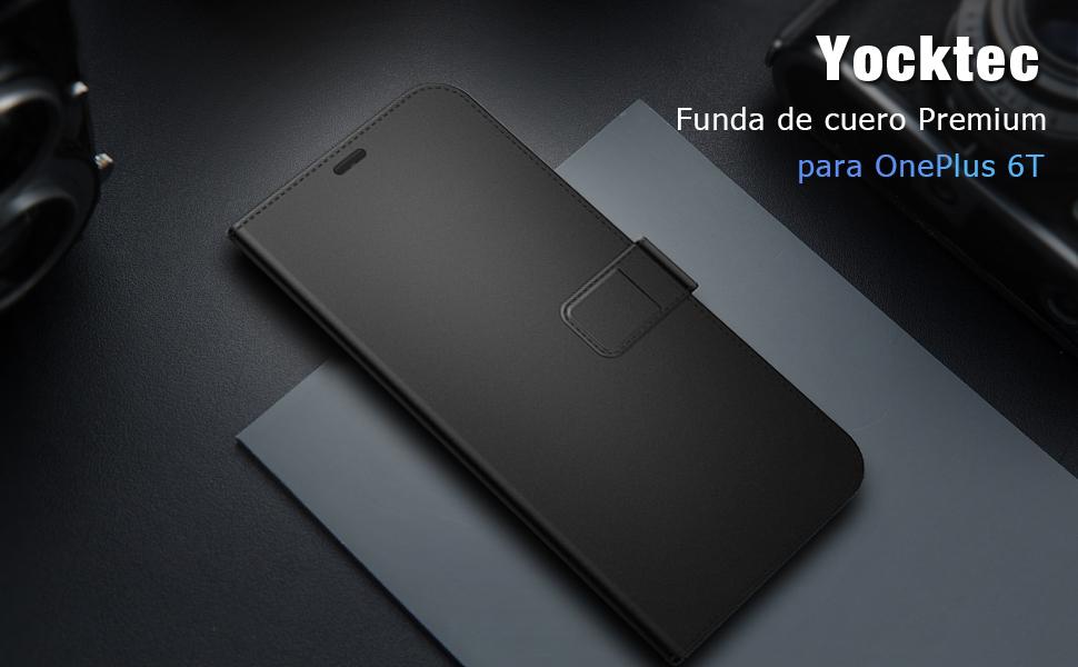 Yocktec OnePlus 6T Funda - Funda Ultra Delgado con Billetera de Cuero y Tapa con Bolsillos para Tarjetas y Espejo cosmético Soporte para Tarjeta Soporte magnético para Smartphone OnePlus 6T (Negro): Amazon.es: