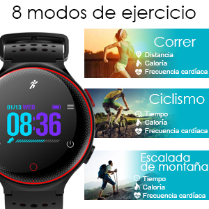 8 modos de ejercicio:Grabe su pasos, calorías quemadas y sus actividades durante todo el día. Apoyo modos de conmutación de diversos deportes como correr ...