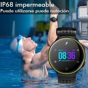 IP68 impermeable:El reloj inteligente de muñeca con nivel IP68 impermeable puede utilizarse para muchas actividades (aguas profundas, natación, ducha, ...
