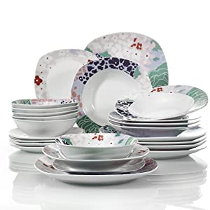 VEWEET Olina 30 Piezas Vajillas de Porcelana Juegos con 6 Taza 175 ml, 6 Platillo, 6 Platos, 6 Platos de Postre y 6 Platos Hondos para 6 Personas