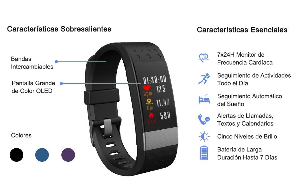 YoYoFit Rock Pulsómetros Pulsera de Actividad Inteligente, Reloj Podometro