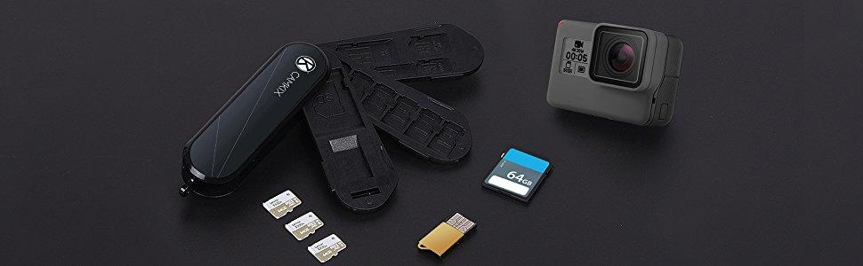 Estuche de Almacenamiento de Tarjeta de Memoria con Lector Micro SD (USB) - Diseño Tipo Navaja Suiza - Se Adapta a 2X SD (SDHC/SDXC/TF) y 8X Micro SD ...