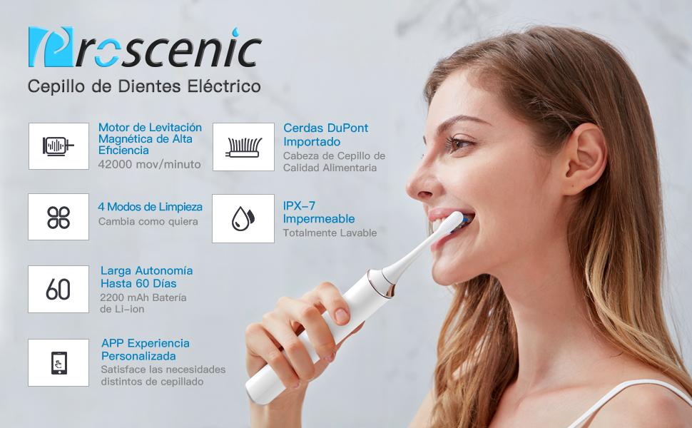 Cepillo de Dientes Eléctrico Sónico Proscenic con Bluetooth APP, 4 modos con 2 cepillos de diferentes tamaño, Larga duración hasta 60 días,IPX7,Diseño ...