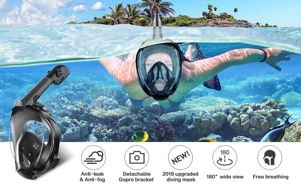 Wsobue M/áscara de Buceo Gafas Snorkel 180/° Panor/ámica Vista Anti-Niebla Apoyo Camara Deportiva Anti-Fugas M/áscara de Snorkel para Adultos y ni/ños Rosa S//M