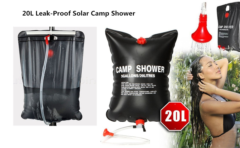 Wsobue Bolsa de Ducha de Acampada, se calienta con energía Solar, portátil, con Boquilla de accionamiento,Bolsa de Ducha Solar para Senderismo, ...