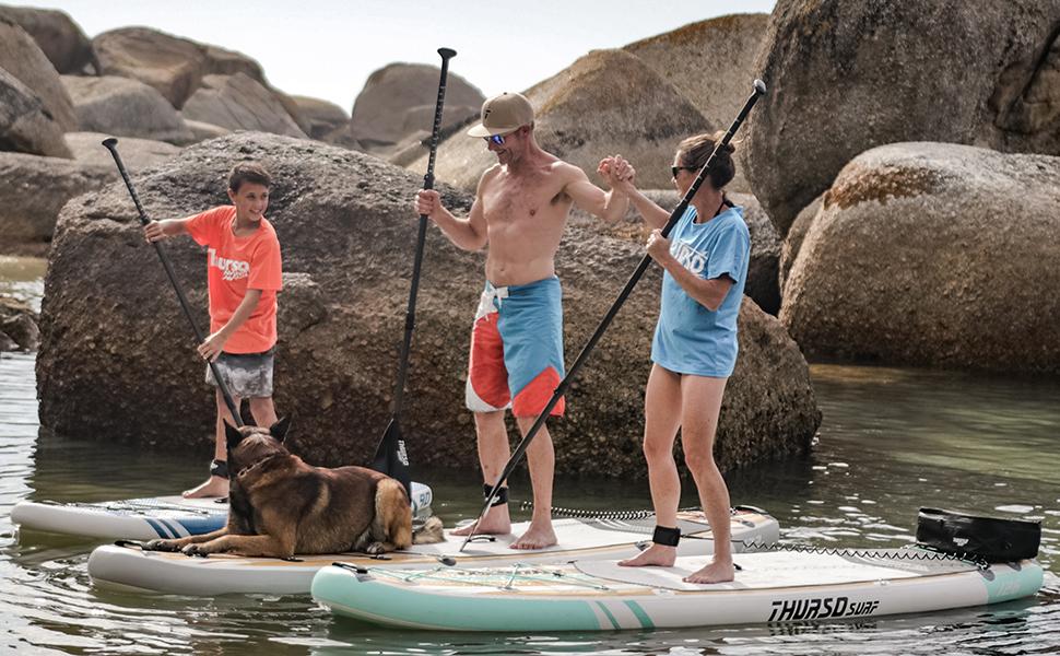 THURSO SURF Tabla Paddle Surf Hinchable Waterwalker 305/320/335 cm de Largo 15 cm de Grosor de Dos Capas Deluxe Incluye Remo con Eje de Carbono/2+1 ...