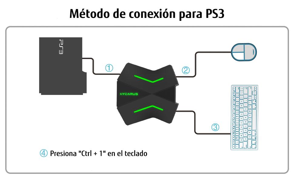 Adaptador de teclado y ratón HYCARUS para Nintendo Switch / Xbox One / PS4 / PS3, adaptador de teclado PS4 y adaptador de teclado Xbox