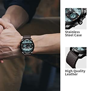 La caja del reloj de acero inoxidable, la caja IP no se desvanece, el reloj redondo con una banda de reloj de cuero cómoda y de primera calidad, ...