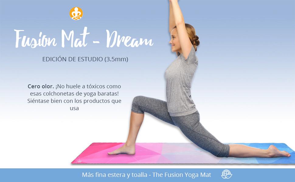 The Inner Living Fusion Yoga Mat - ¡La mejor estera antideslizante de lujo ecológica diseñada para agarrar más sudada! Reversible y lavable (Polygonal ...
