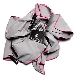 150x80cm, Gris Deporte Piscina Playa Yoga y Gimnasio Fitness Schukaps Toalla de Microfibra compacta y de Secado rapido con Bolsa para Viajes