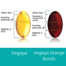 Vegepa Orange Bursts, Aceite de Pescado Omega-3 EPA y Omega-6 GLA para niños, sin azúcar, sabor natural a naranja, 60 cápsulas masticables