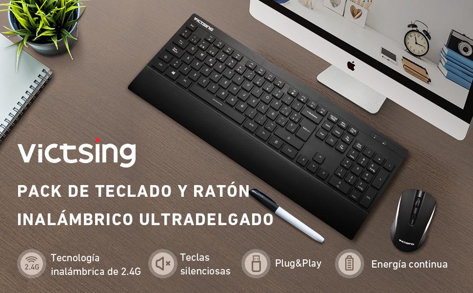 VicTsing Pack de Teclado y Ratón Inalámbricos (QWERTY Español ...