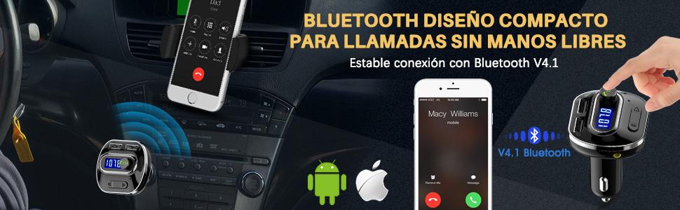 transmisor fm bluetooth coche manos libres