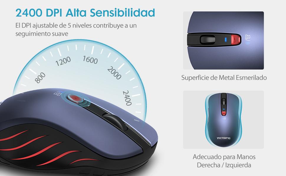 VICTSING Ratón Inalámbrico Bluetooth 4 0 & 2 4G, 5 dpi Adjustables y  Control de Multi-Dispositivo, para PC, Computadora, Portátil, Mac, y  Tableta