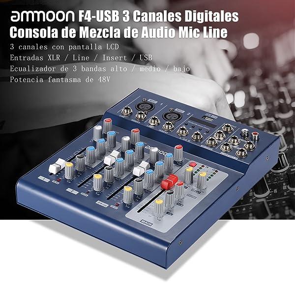ammoon F4-USB 3 Canales Digitales de Micrófono de Línea de Audio ...