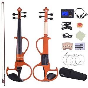 Lista de paquetes: 1 * Violín 1 * Arco 1 * Cable de audio 1 * Auricular 1 * sintonizador 1 * Colofonia 1 * Puente adicional 1 * Juego extra de cadena