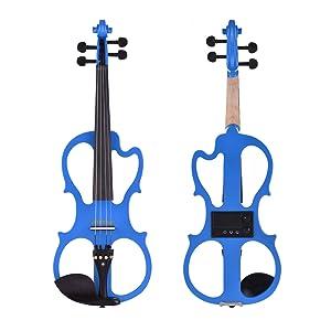 Violín eléctrico superior - ammoon 4/4 tamaño violín eléctrico silencioso con superficie barnizada brillante.