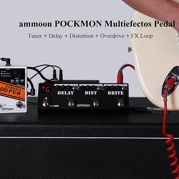 ammoon POCKMON Pedal de Guitarra Tira de Pedales Multiefectos con ...