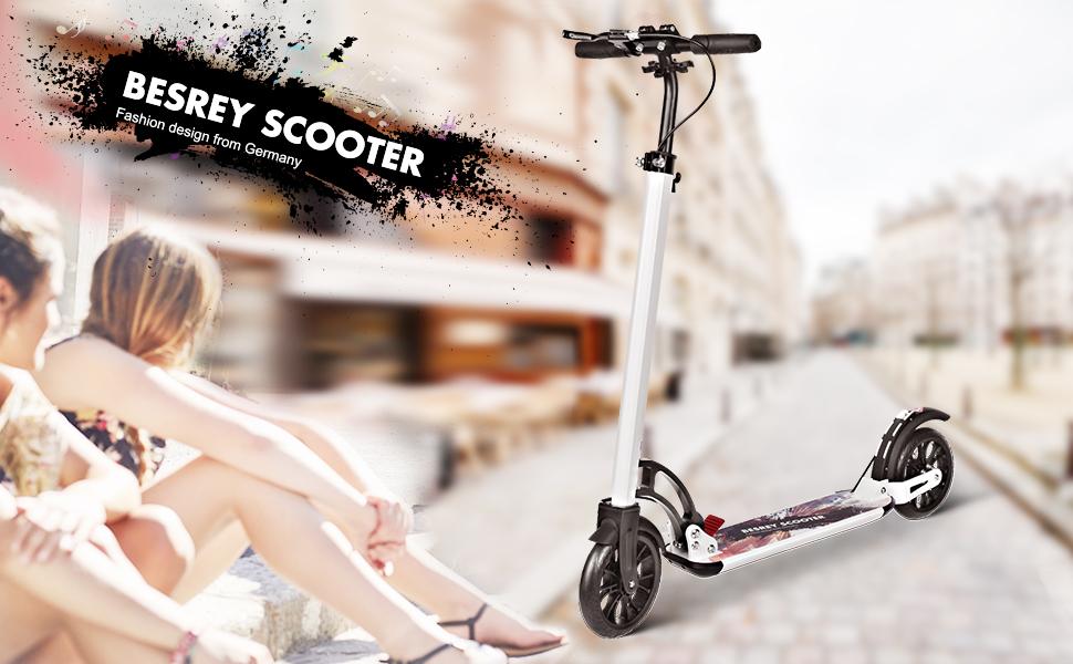 besrey Patinete Plegable, Patinetes Ajustable para Adulto Niño Scooter Ciudad Roller City con Grande Ruedas