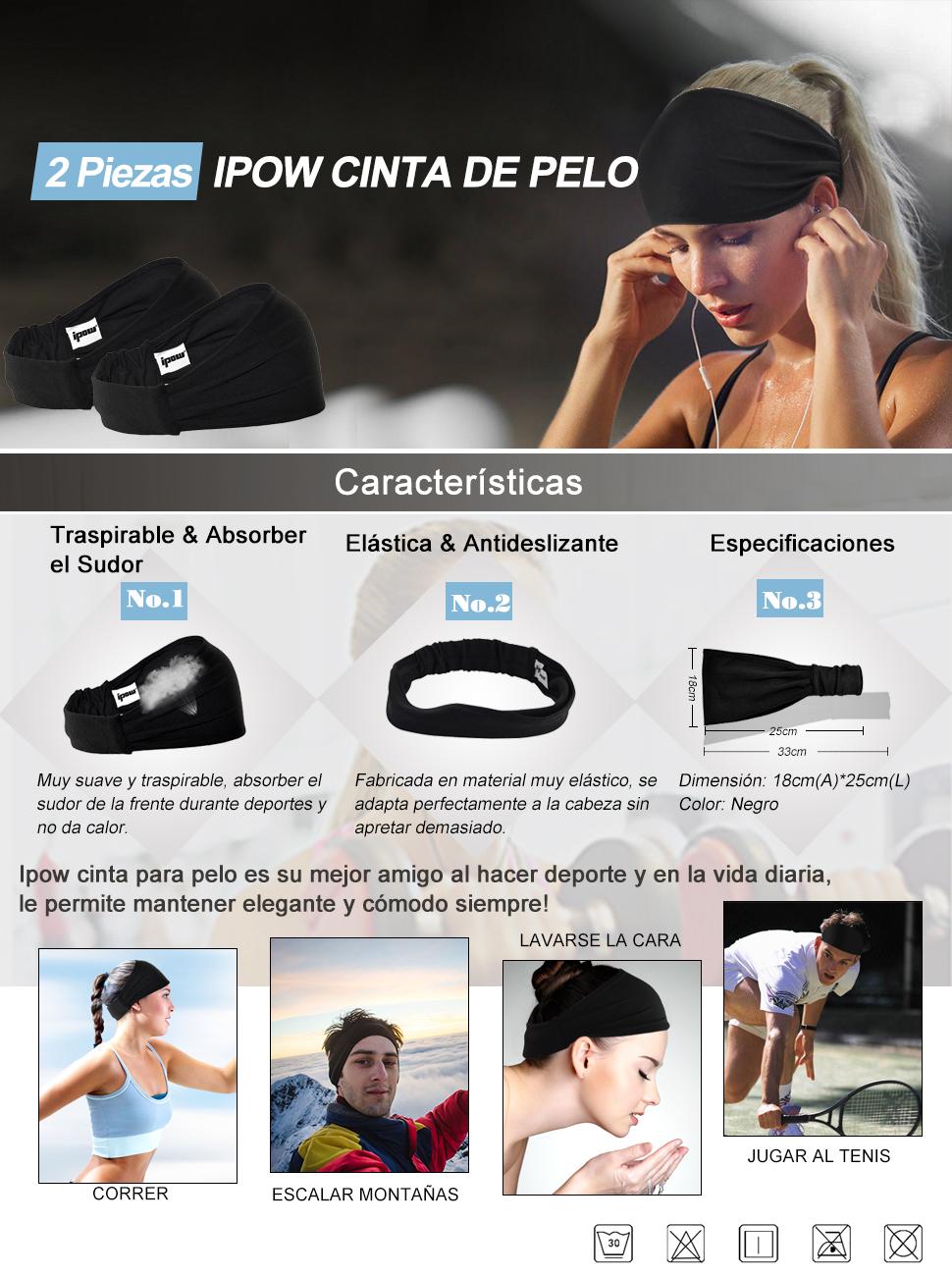 Ipow® [2 PCS] Cinta para Pelo Unisex, Antideslizante, Ligero y ...