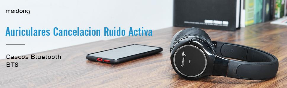 Meidong Auriculares Cancelacion Ruido Activa, Bluetooth Inalámbricos Cascos Cancelacion de Ruido, Noise Cancelling Auriculares con Micrófono Estéreo ...