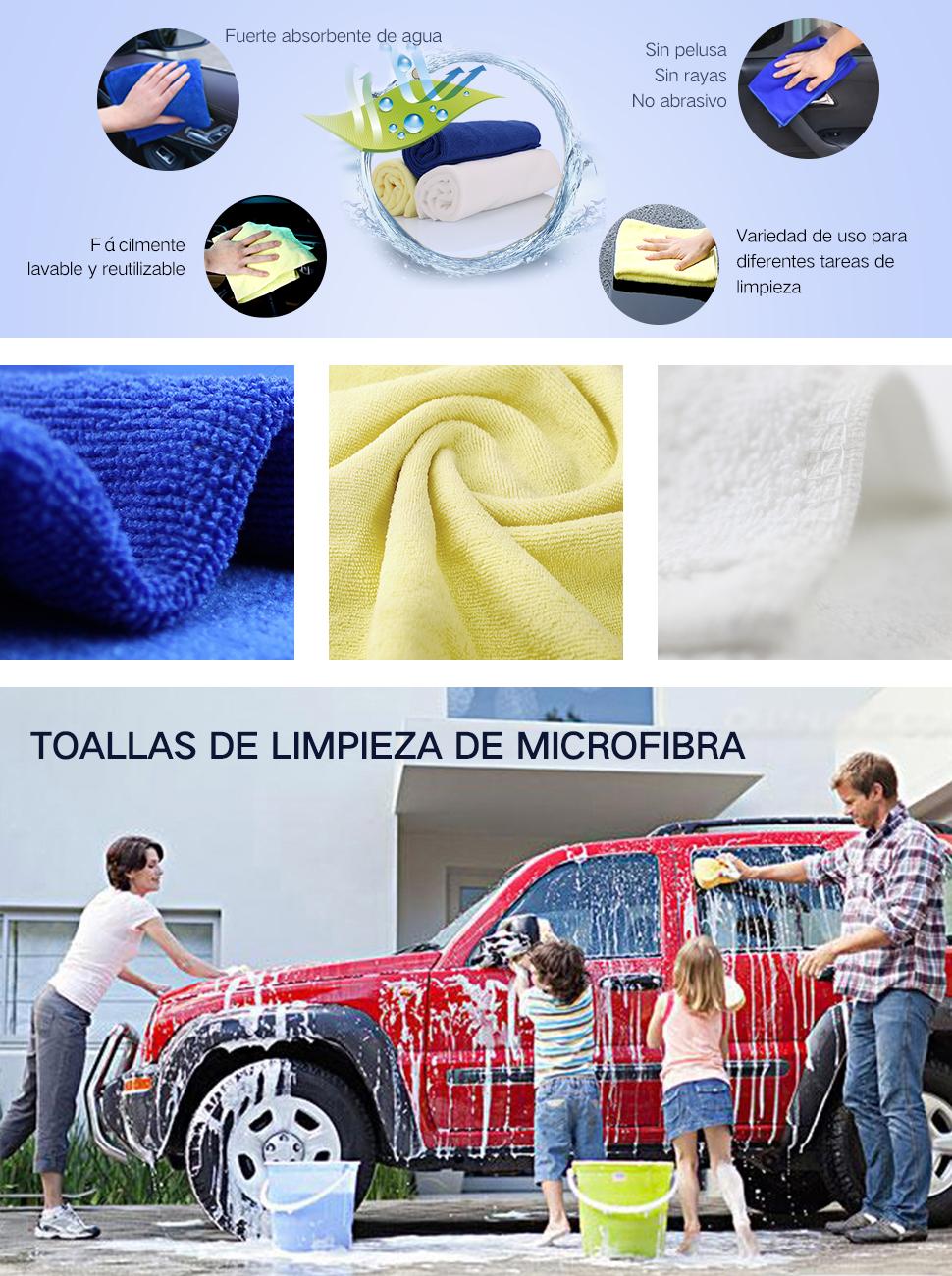 Toallas de limpieza de microfibra PUSHIDUN Toalla de limpieza para el hogar, para el hogar Paño de limpieza fuerte, paquete de 3