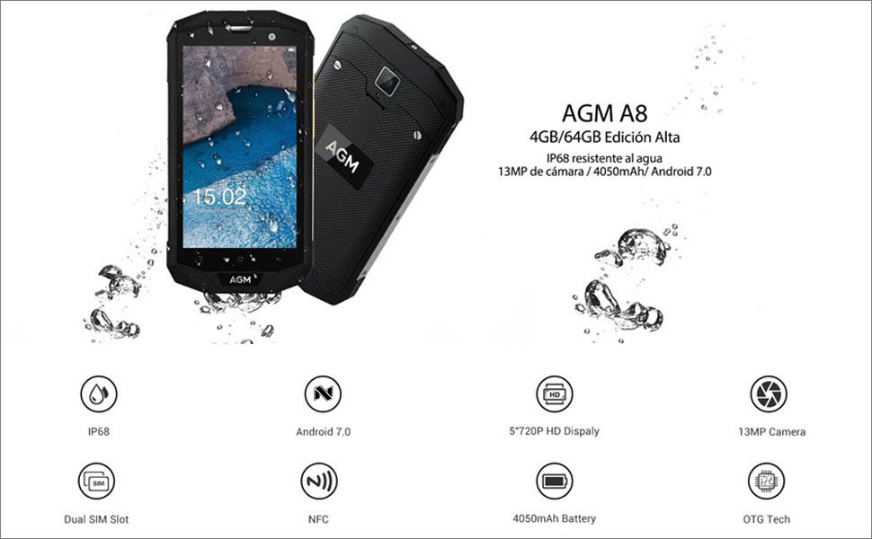 AGM A8 Smartphone 4GB RAM 64GB ROM Android 7.0 IP68 Impermeable ...