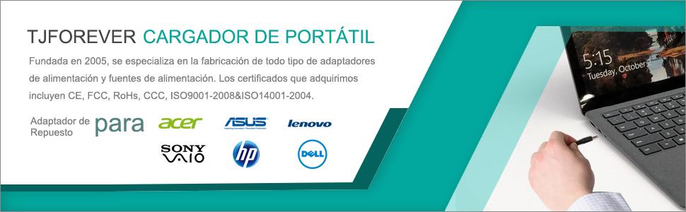 TJFOREVER Cargador Ordenador portátil para Acer Aspire E15 E5 19V 4.74A 90W Swift 1 3 5 Chromebook 11 14 15 con USB QC 3.0 Fuente de Alimentación ...