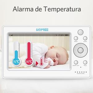 HOMIEE Bebé Monitor Vigilabebés con cámara inalámbrico de vídeo LCD HD de 5