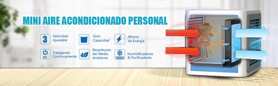 GESUNDHOME Aire Acondicionado Móvil, 3en1 Mini Ventilador ...